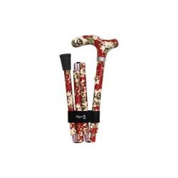 Canne de marche pliante FAYET - Rouge et motif fleurs