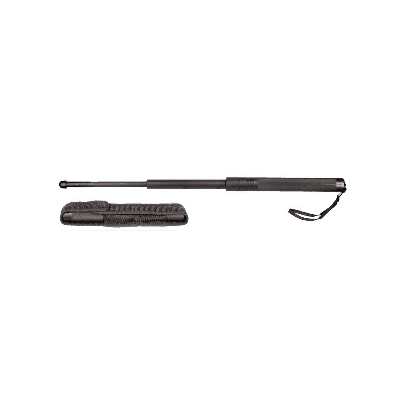 Matraque télescopique rigide noire ( 58 cm ) - Nylon