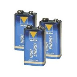 Lot de 3 piles alcaline 9V (6LR61)