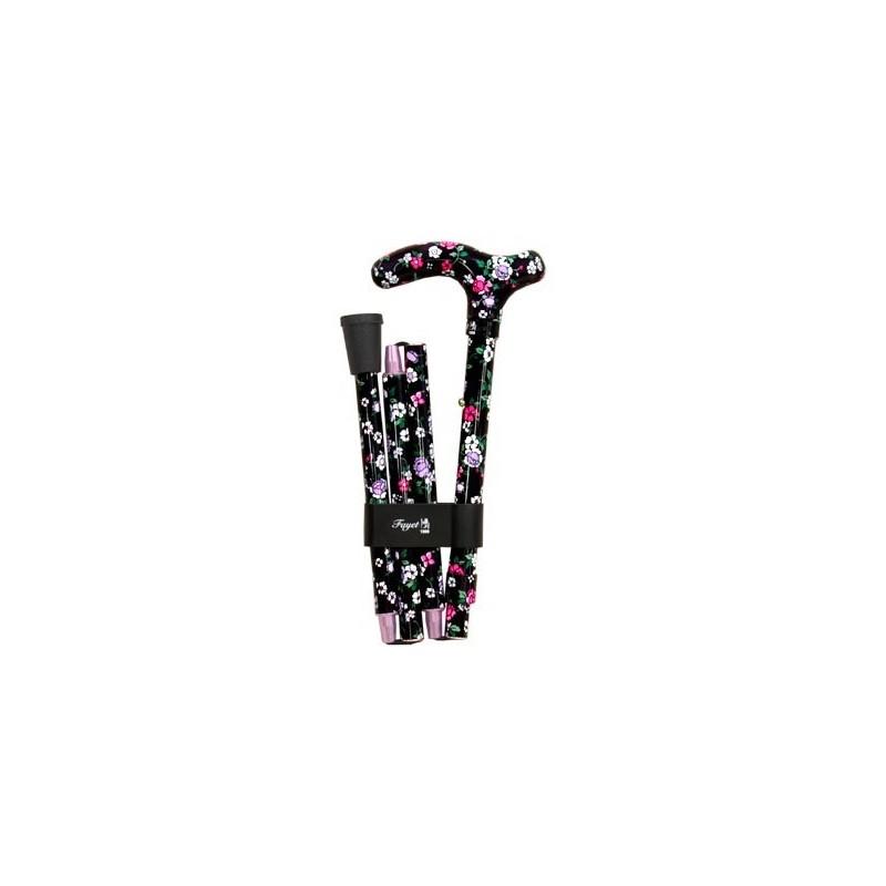 Canne de marche pliante FAYET - Noir et motif fleurs