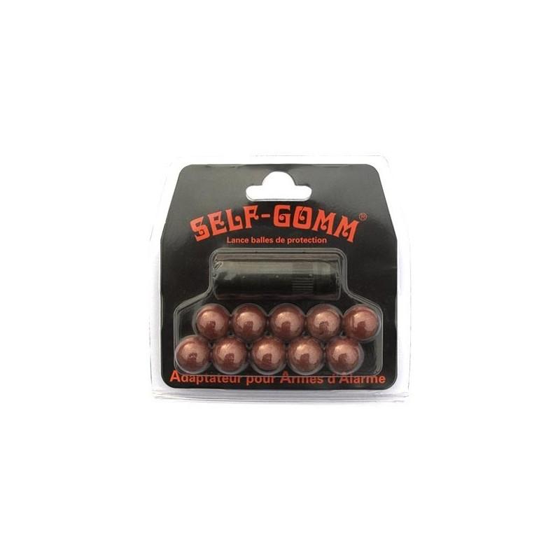 Adaptateur SELF-GOMM pour arme d'alarme BRUNI-KIMAR + 10 balles caoutchouc