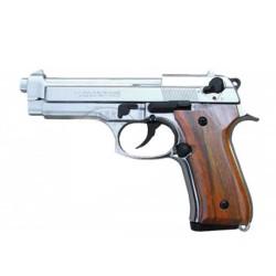 Arme d alarme KIMAR - Cal. 9mm - Mod. 92 nickelé - Crosse bois
