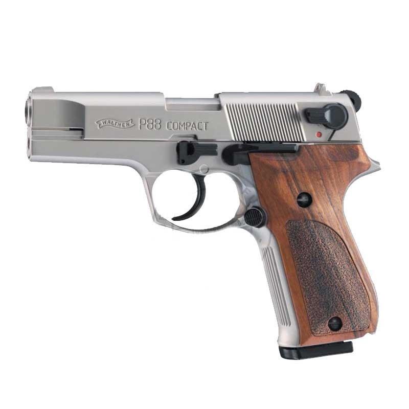 Arme d alarme UMAREX P88 nickelée - Cal. 9mm - crosse bois