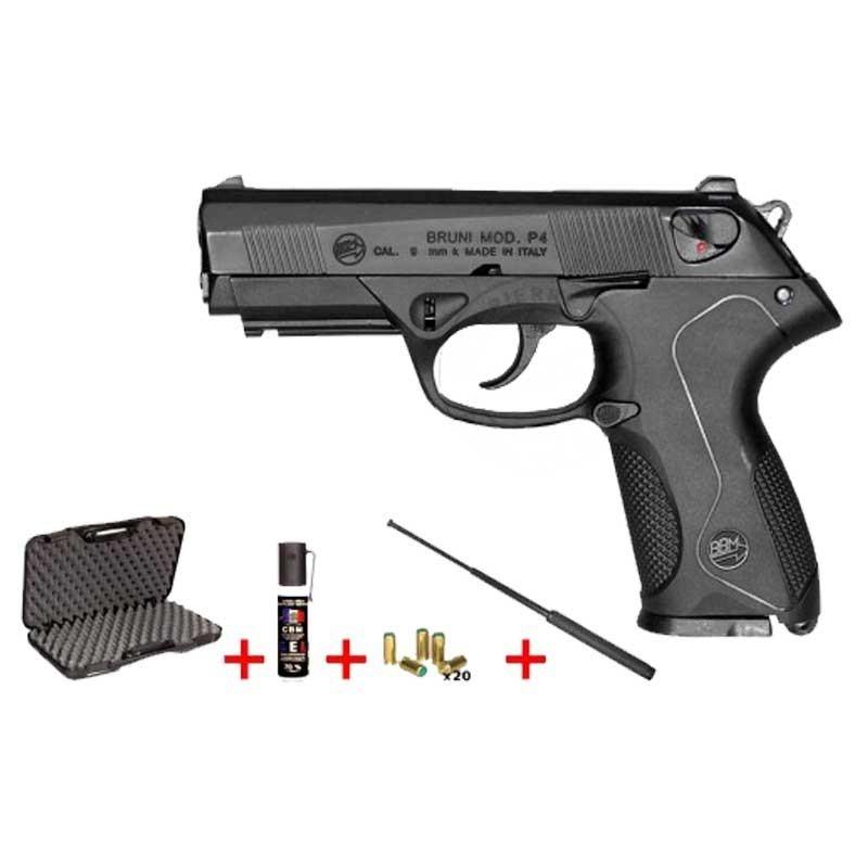 Arme d alarme BRUNI Cal. 9mm Mod. P4 noir + Kit défense