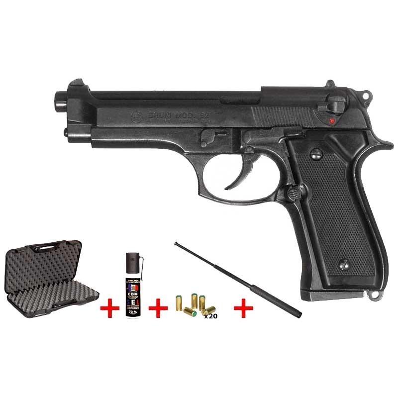 Revolver d alarme BRUNI Mod. 92 noir Cal. 9mm + Kit défense